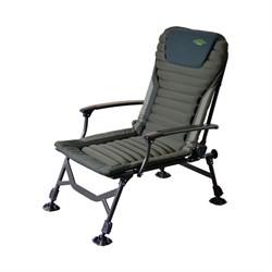 Высококлассное карповое кресло Carp Pro, с рифленой мягкой поверхностью и объемным мягким подголовником.